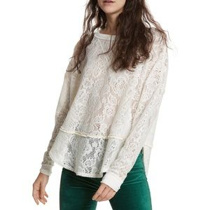 Free People Not Cold in This Lace Top Ivory
